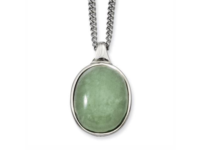 Stainless Steel Green Aventurine Pendant 18in Necklace