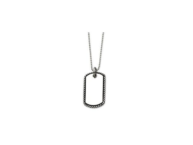 Stainless Steel Twisted Rope Edge Dog Tag Pendant  24 in. Necklace
