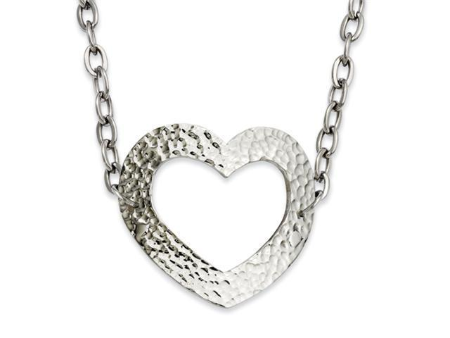 Stainless Steel Textured Heart 18in Necklace
