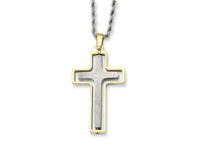 Stainless Steel Gold-plated Laser Cut Moveable Cross Pendant 22in Necklace