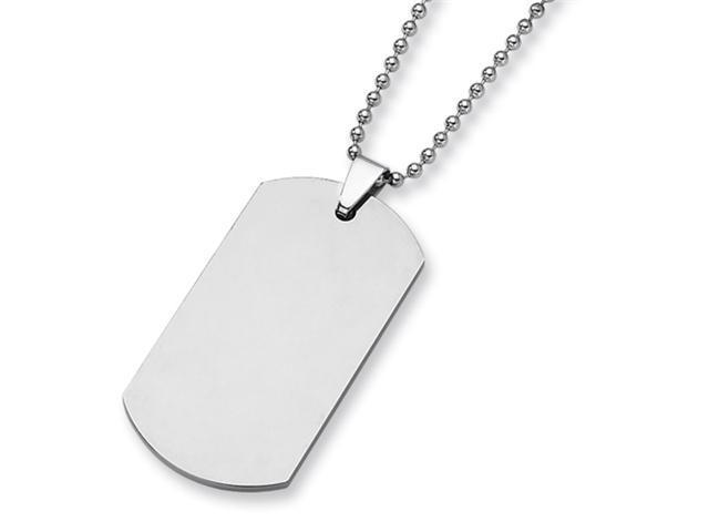 Tungsten Polished Dog Tag Necklace