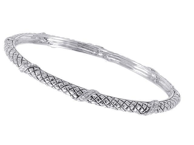 Alesandro Menegati Sterling Silver Designer Fashion Bangle with Diamonds