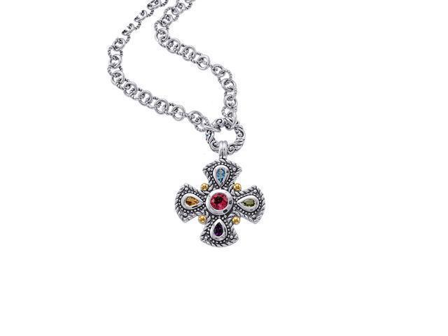 Alesandro Menegati 18K Accented Sterling Silver Multi Gemstones Necklace