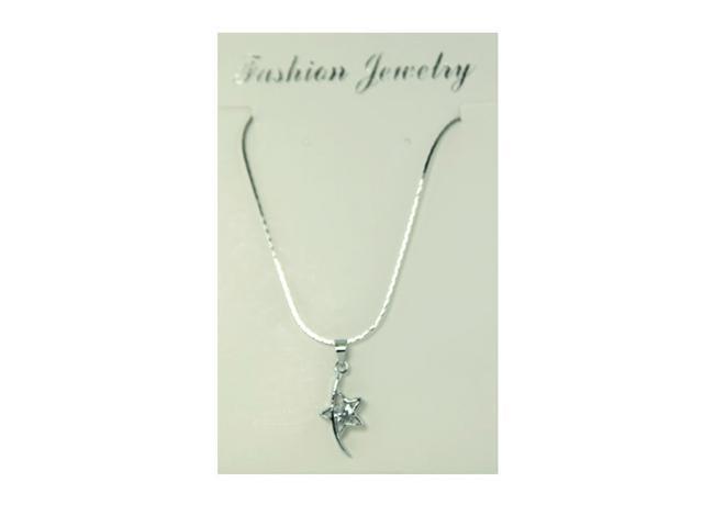 Silver-tone CZ Star Necklace