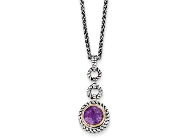 Sterling Silver/Gold-plated Antiqued Amethyst 18