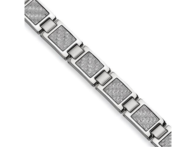 Stainless Steel Grey Carbon Fiber Bracelet