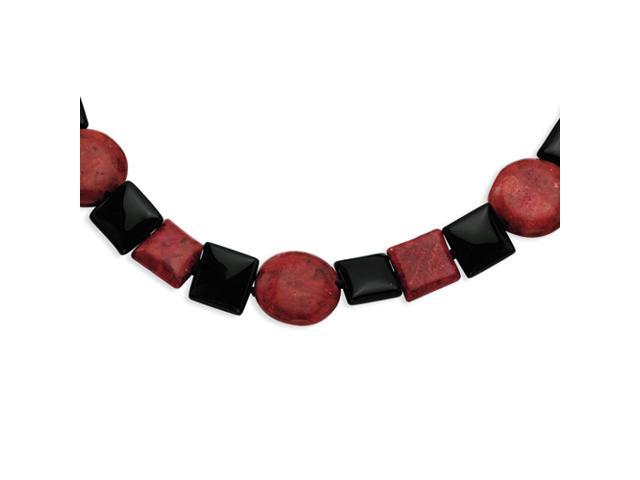 Sterling Silver Black Agate & Red Coral Necklace