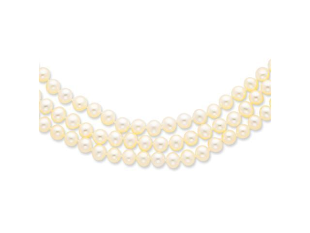 14k 6-6.5mm 3 Strand Cultured Pearl Necklace