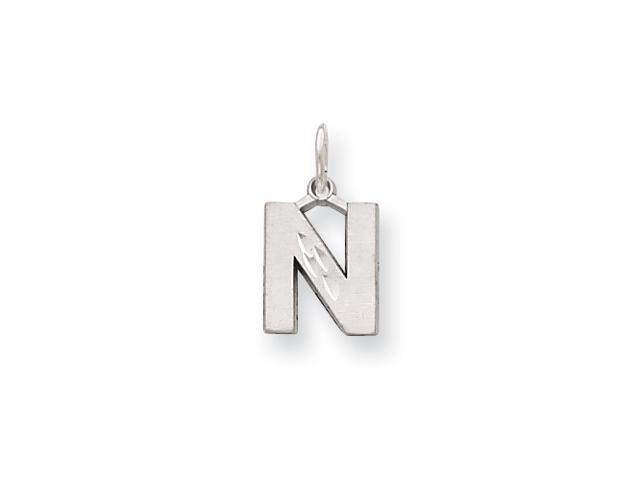 14K White Gold Solid Satin Diamond-cut Initial N Charm