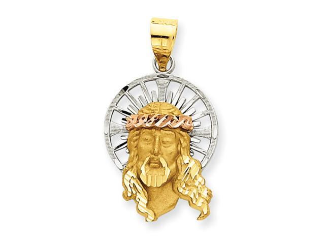 14K Tri-Color Diamond Cut Christ Charm