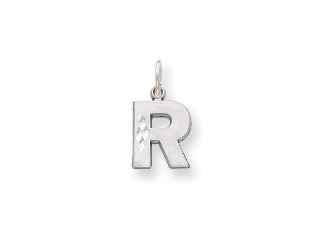 14K White Gold Solid Satin Diamond-cut Initial R Charm