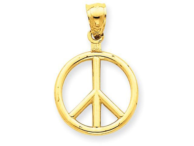 14k Polished Peace Sign Charm