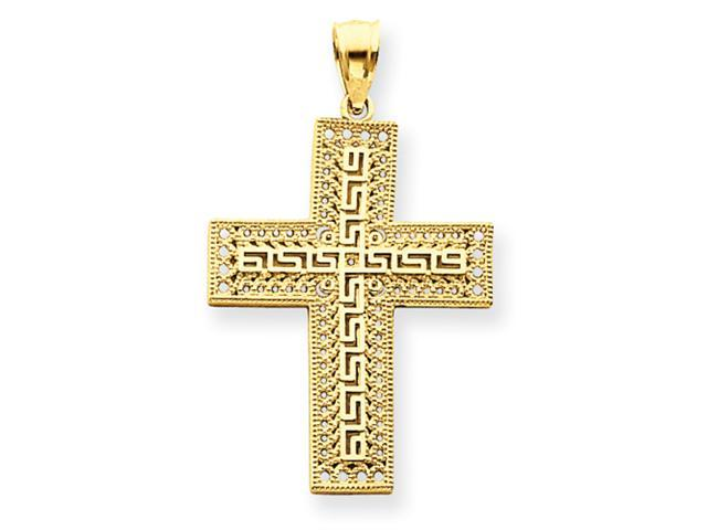 14k Greek Key Filigree Cross Pendant