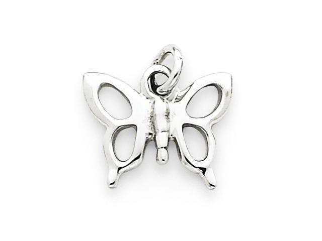 14k White Gold Solid Polished Butterfly Charm