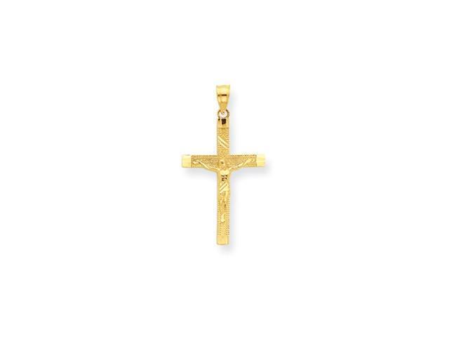 14K Diamond-cut Fancy Tipped Crucifix Pendant