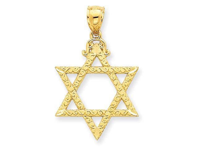 14k Diamond Cut Star of David Pendant
