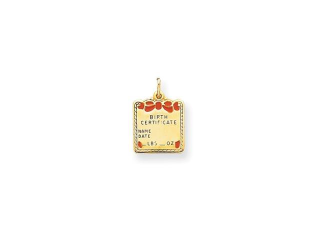 14k Enameled Pink Engraveable Birth Certificate Charm