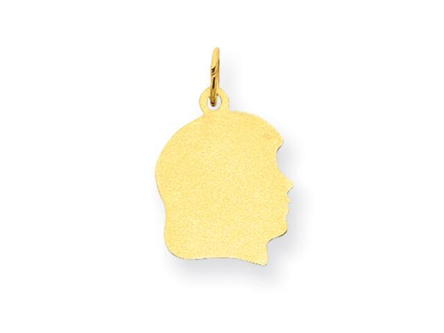 10K Plain Medium .018 Gauge Facing Right Engraveable Girl Head Charm