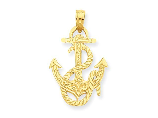 14K Anchor and Rope Pendant