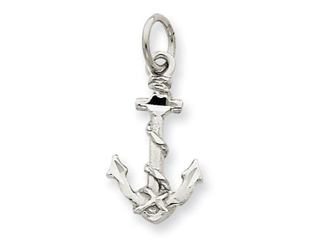 14k White Gold Solid Polished Diamond-cut 3-Dimensional Anchor Charm