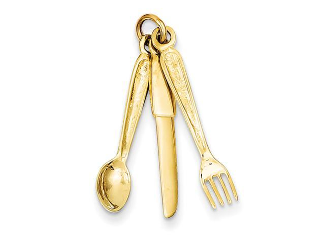 14k Knife, Fork & Spoon Charm
