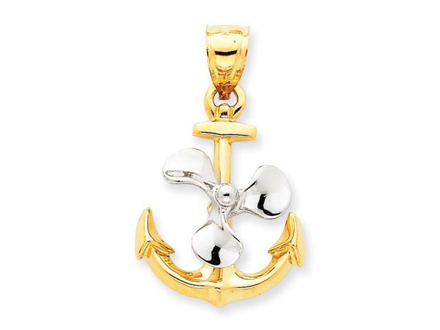 14k Two-tone 3-D Anchor w/Moveable Propeller Pendant