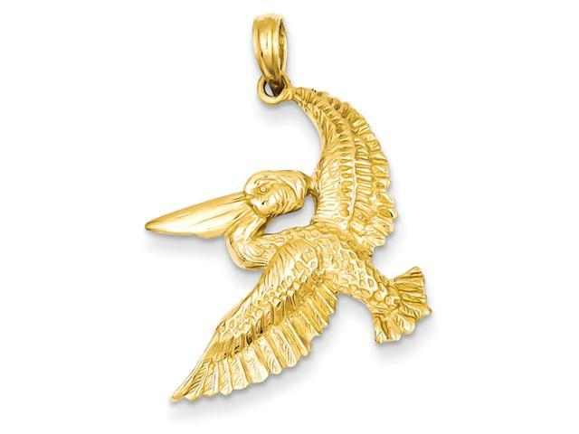 14k Solid Polished Open-Backed Flying Pelican Pendant