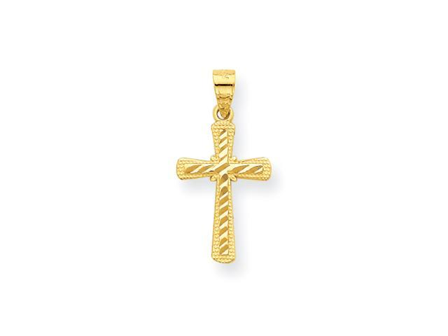 10k Diamond-Cut Cross Charm