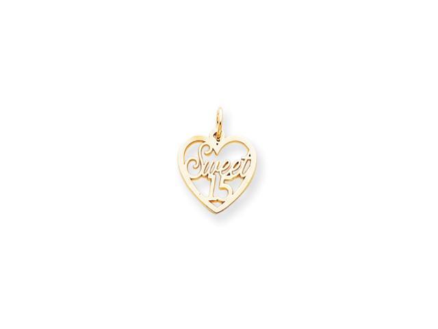 10k Sweet 15 in Heart Charm