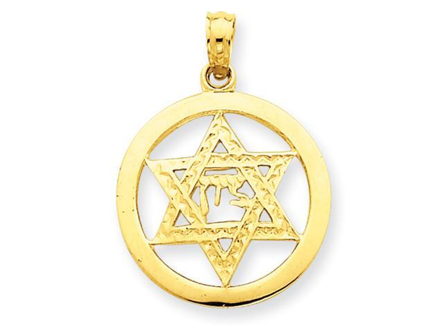 14k Jewish Chi in Star of David Pendant