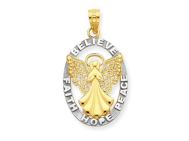 14K Two-tone Flying Angel with Moveable Bell Pendant
