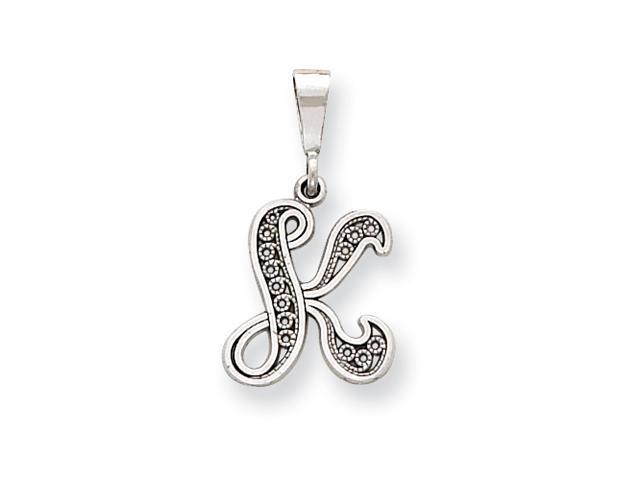 14k White Gold Solid Polished Filigree Initial K Pendant