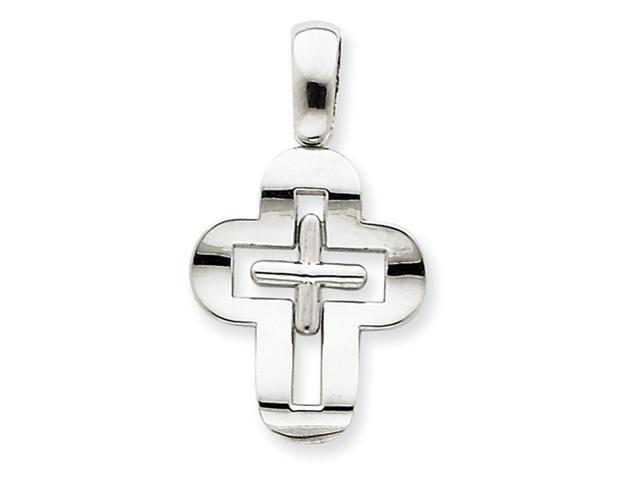 14k White Gold Solid Cross Pendant