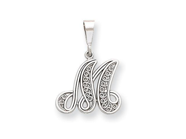 14k White Gold Solid Polished Filigree Initial M Pendant