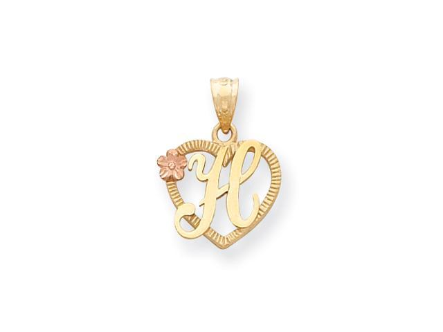 14k Two-Tone Initial H in Heart Charm