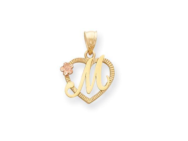 14k Two-Tone Initial M in Heart Charm