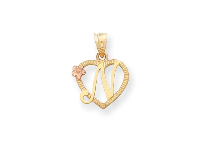 14k Two-Tone Initial N in Heart Charm