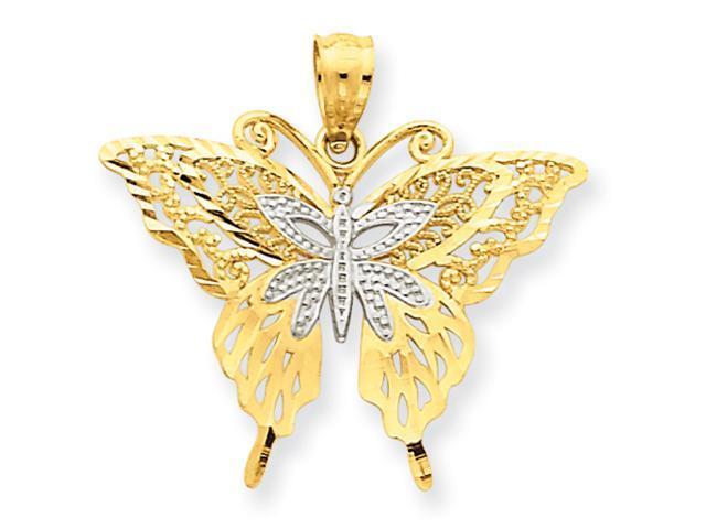 14k Rhodium Fancy Butterfly Pendant
