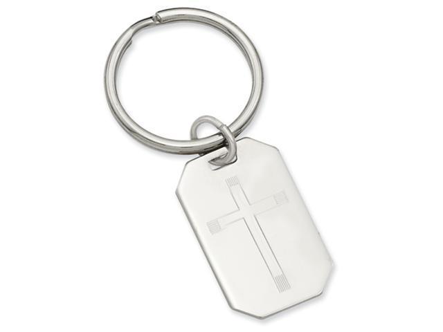 Rhodium-plated Cross Engravable Key Ring