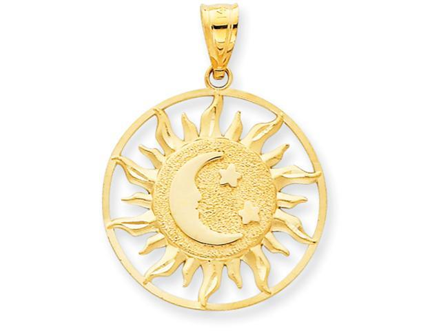 14k Polished Sun with Moon & Star Charm