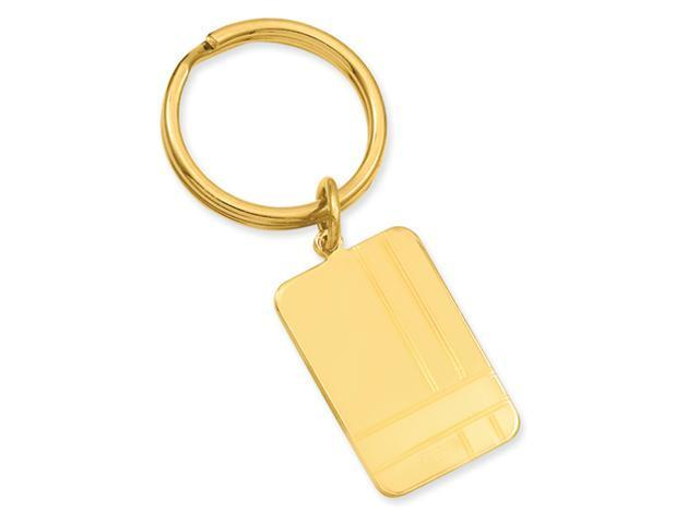 Gold-plated Criss Cross Pattern Engravable Key Ring