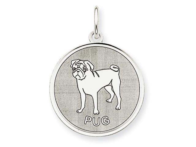 Sterling Silver Pug Disc Charm