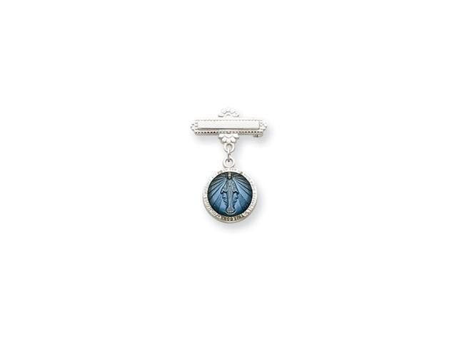 Sterling Silver Enameled Miraculous Medal Pin