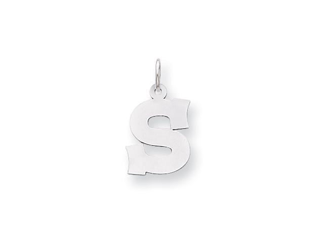 Sterling Silver Medium Block Intial S Charm