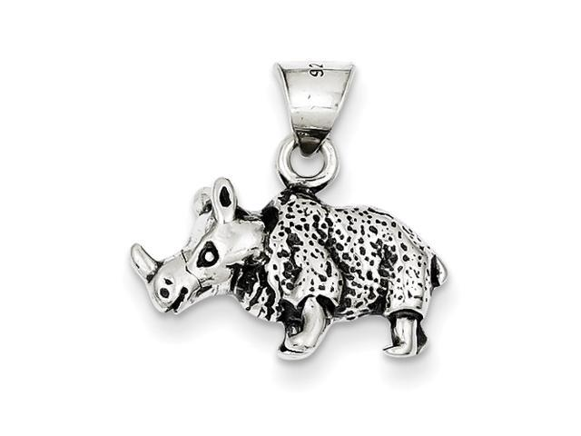 Sterling Silver Antiqued Rino Charm