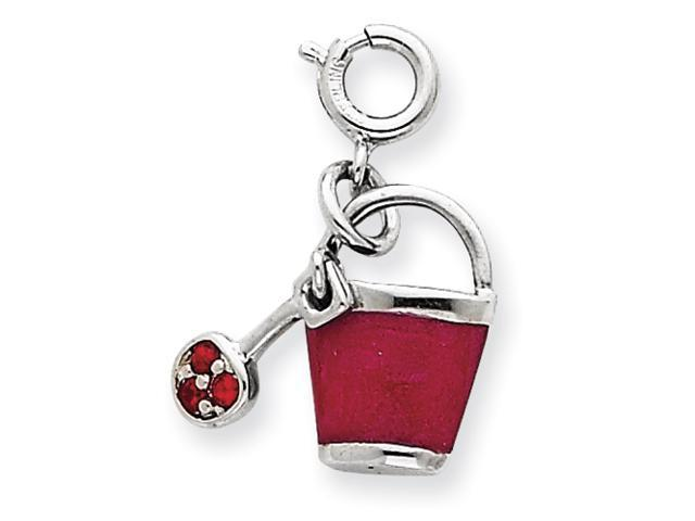 Sterling Silver Crystal & Enameled Bucket Charm