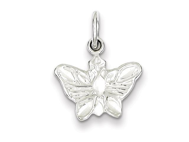 Sterling Silver Diamond Cut Butterfly Charm