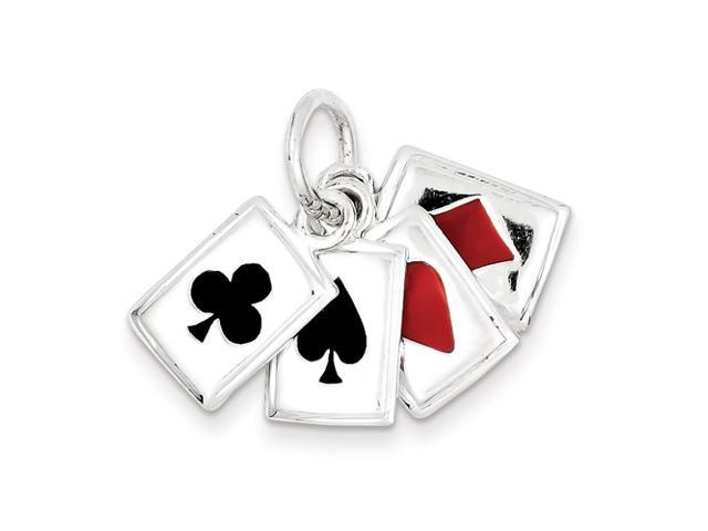 Sterling Silver Enameled Playing Cards Charm