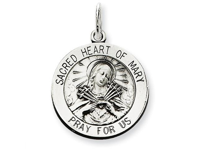 Sterling Silver Antiqued Sacred Heart of Mary Medal