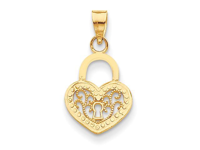 14k Filigree Heart Lock Pendant